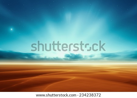 Dreamy fantasy alien mars desert like fantasy landscape - stock photo