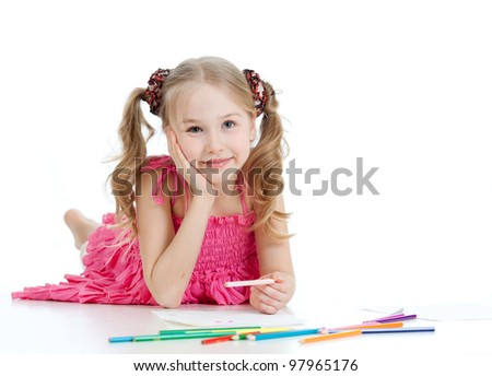 dreamy girl with pencils - stock photo