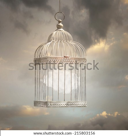 Dreamy image that represent a cloud inside a cage with a beautiful sky in the background - stock photo