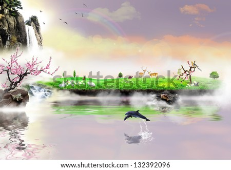 Dreamy island of biodiversity, fairyland for animals - stock photo