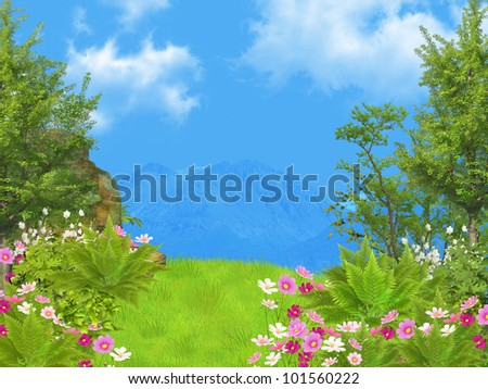 dreamy landscape - stock photo