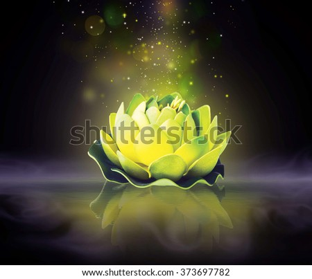 Dreamy magic lotus flower with sparkle in the water - stock photo