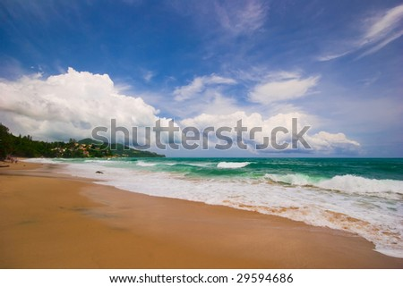 Dreamy red sand tropical beach. Phuket island. Andaman sea. Kingdom Thailand