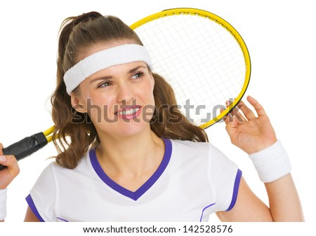 Dreamy tennis player with racket