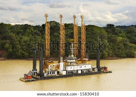 Dredging the Panama Canal - stock photo