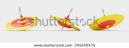 Dreidels for Hanukkah on white background, Clipping path included.