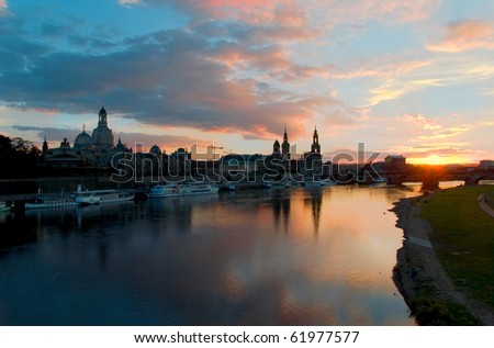dresden altstadt at sunset
