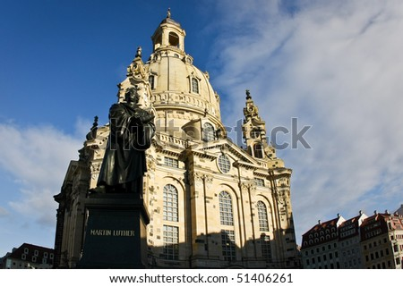 Dresden Frauenkirche (Church of Our Lady) and Martin Luther monument, Germany - stock photo