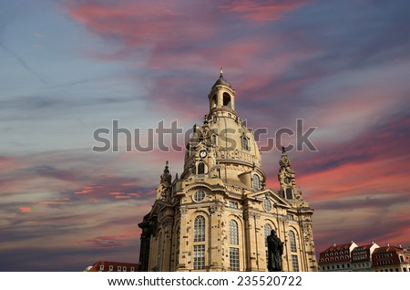 Dresden Frauenkirche ( literally Church of Our Lady) is a Lutheran church in Dresden, Germany  - stock photo