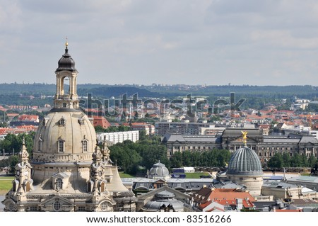 Dresden from the city hall - stock photo