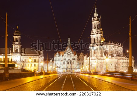Dresden - Germany - Augustus bridge - stock photo