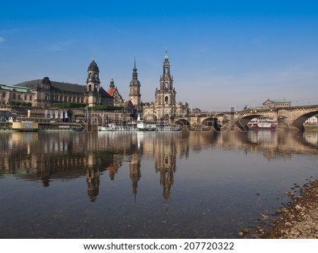 DRESDEN, GERMANY - JUNE 11, 2014: Dresden Cathedral of the Holy Trinity aka Hofkirche Kathedrale Sanctissimae Trinitatis seen from the Elbe river