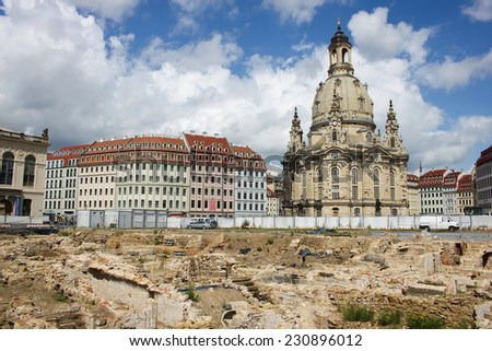 DRESDEN, GERMANY - JUNE, 26th, 2014: Neumarkt square with Frauenkirche in background on 26th June 2014. - stock photo