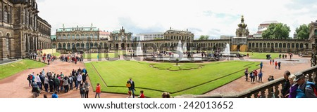 DRESDEN, GERMANY - JUNE, 20th, 2014: Panorama shot of Zwinger palace, famous landmark of Dresden, Germany, during sunny day on 20th June 2014. - stock photo