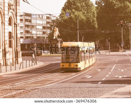 DRESDEN, GERMANY - JUNE 11, 2014: Trams are the main public transport in Dresden vintage
