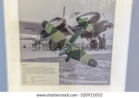 DRESDEN, GERMANY - MAY 2015: bomber aircraft He 111 H-4 1941 in Dresden Transport Museum on May 25, 2015 in Dresden, Germany - stock photo