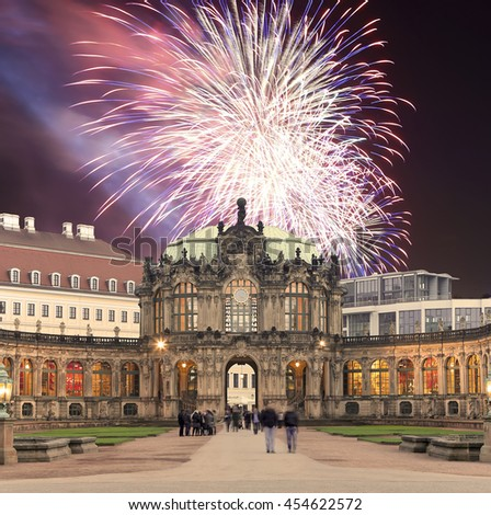 DRESDEN, GERMANY -  NOVEMBER 15, 2014: Zwinger Palace (Der Dresdner Zwinger) and holiday fireworks, Dresden, Germany   - stock photo