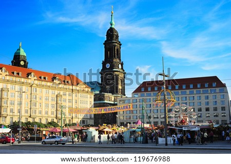 DRESDEN, GERMANY - SEPTEMBER 16: People on a street market on September 16, 2012 in Dresden, Germany. Dresden with population 523, 058 - one of Germany's 16 political centers and the capital of Saxony