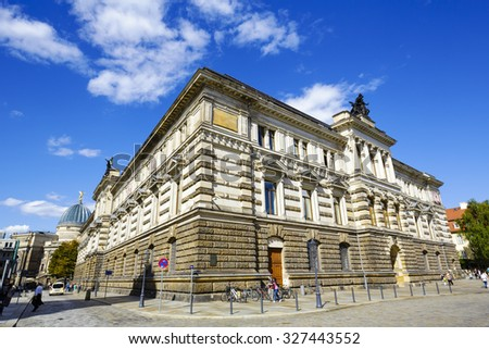 DRESDEN, GERMANY - SEPTEMBER 19, 2015: The Albertinum, it is named after King Albert of Saxony and it was built between 1884 and 1887, nowadays it houses a part of the Dresden State Art Collections - stock photo