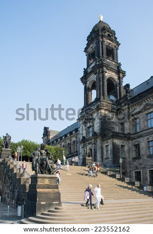 DRESDEN, GERMANY - SEPTEMBER 4: Tourists at the historic old town of Dresden, Germany on September 4, 2014. Dresden has almost 2 million visitors a year. Foto taken from Terassenufer. - stock photo