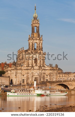 Dresden - Germany - Steamer on the Elbe - stock photo