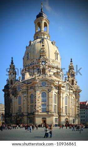 Dresden in Germany, Dresden Frauenkirche - stock photo