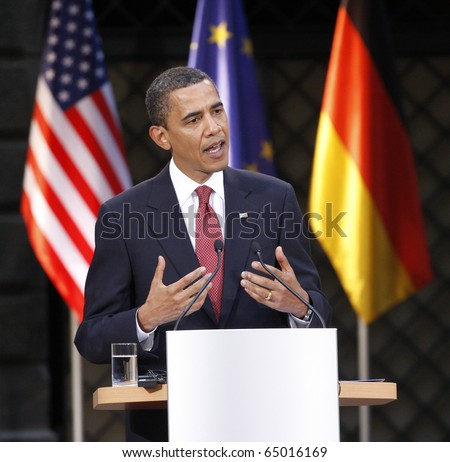 DRESDEN - June 05:  Barack Obama, the 44th President of the United States at a Press conference with the german Chancellor Angela Merkel at the Residenz Schloss. June 05, 2009 in Dresden - stock photo
