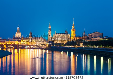 Dresden Skyline at night, Germany - stock photo
