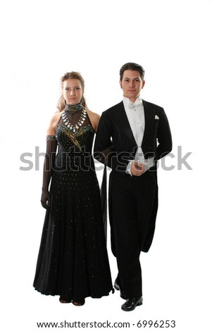 dress dance elegance posing love dancing couple - stock photo