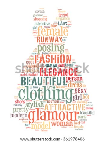 Dress fashion, word cloud concept on white background.  - stock photo
