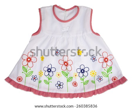 Dress for girl on white background. - stock photo
