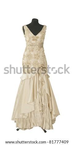 dress on a dummy on a white background - stock photo