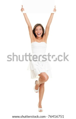 Dress woman holding paper sign in full body isolated on white background. Cute fresh cheering Caucasian Asian girl holding blank empty paper sign wearing a cute white summer dress. - stock photo