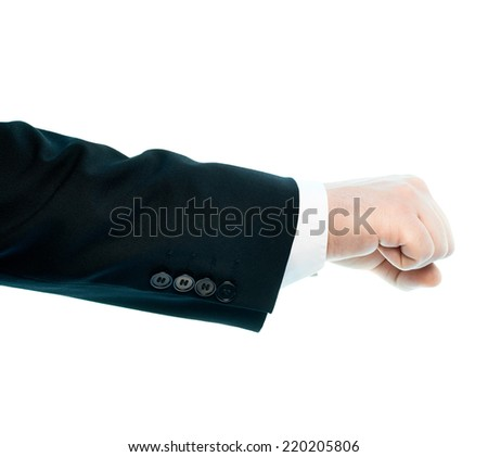 Dressed in a business suit caucasian male hand gesture of a clenched fist, high-key light composition isolated over the white background