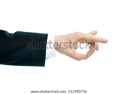 Dressed in a business suit caucasian male hand gesture of an okay approval sign, high-key light composition isolated over the white background - stock photo