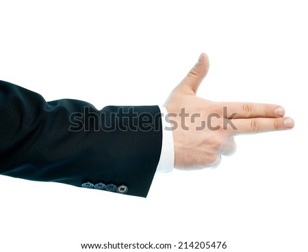 Dressed in a business suit caucasian male hand pointing gesture, high-key light composition isolated over the white background - stock photo