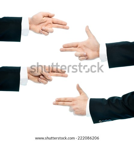 Dressed in a business suit caucasian male hand pointing gesture, high-key light composition isolated over the white background, set of four images - stock photo