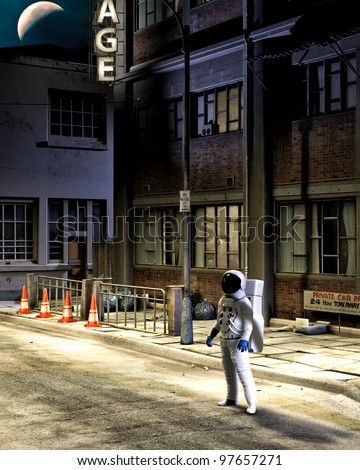 Dressed in complete spacesuit and helmet. Astronaut stands along at night on an abandon earth city street. Crescent moon above. Old buildings grunge distressed trash on street. - stock photo