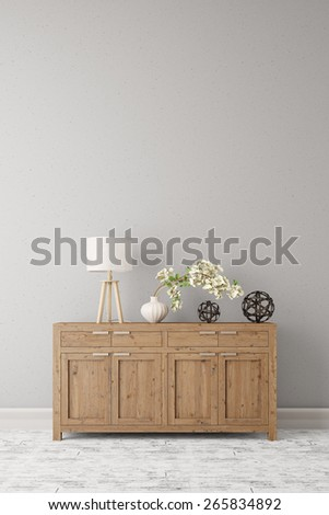Dresser with lamp and plant standing on a wall in a corridor (3D Rendering) - stock photo