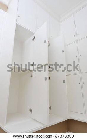 dressing room with white lockers.