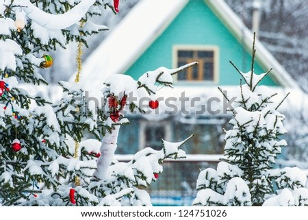 Dressing up fir balls outside in the snow on the background of the house - stock photo