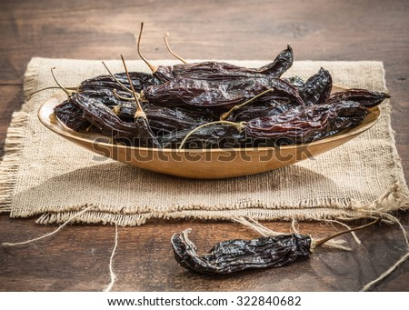 Dried Aji Panca Organic Chili Pods from Peru - stock photo