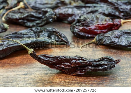 Dried Aji Panca Peppers from Peru - stock photo