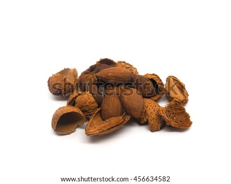 Dried Almond with its outer shell, great source of nutrition for healthy diet