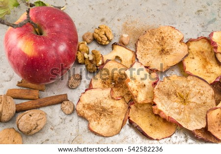 Organic Apple Rings Sliced With Cinnamon Apples In Jar