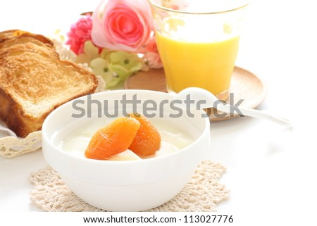 dried Apricot and yogurt for breakfast image