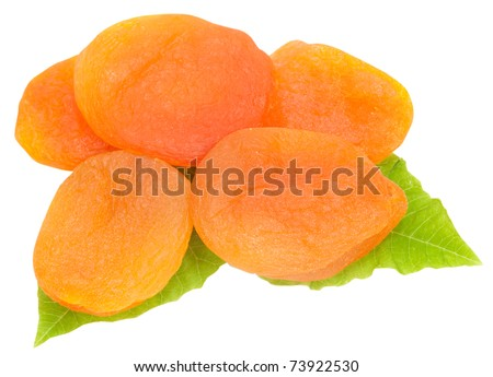 dried apricot with green leaves isolated on white background - stock photo