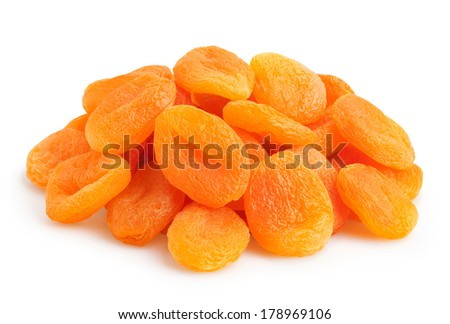 dried apricots isolated - stock photo