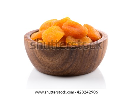 Dried apricots on white background with a light shadow - stock photo