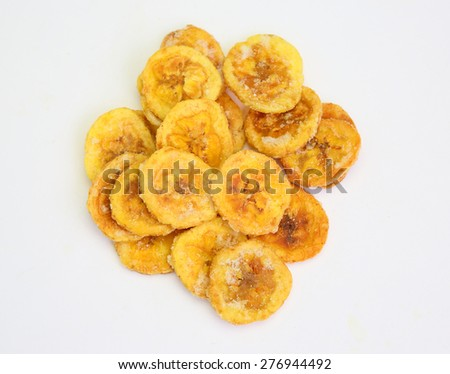 dried banana slices coated with sugar isolated on white background - stock photo